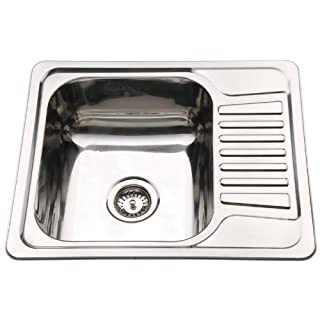 Compact Stainless Steel Inset Kitchen Sink Bowl With Drainer & Waste Kit (B58)