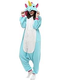 JYSPORT Unicornio Pijama Cosplay Animal Ropa Disfraces Carnaval Halloween Navidad Pijama (azul, L:
