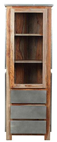 The Wood Times Wohnzimmerschrank Massiv Vintage Look Odisha Sheeshamholz, FSC Zertifiziert, BxHxT 67x190x40 cm - 3