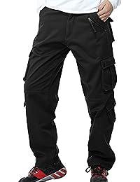 Sunshey Herren Thermohose Thermo-Cargohose Arbeitshose Fleece gefüttert  warm Innen aus Baumwolle mit mehere Taschen Loose Fit in schwarz… de688cb6e6
