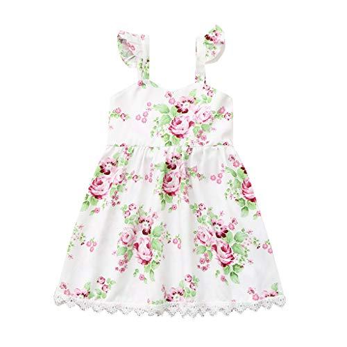 Julhold Kleinkind Baby Mädchen ärmellose Blume Blumendruck Kleid Spitze rückenfreie Kleider Sommer Freizeit komfortabel