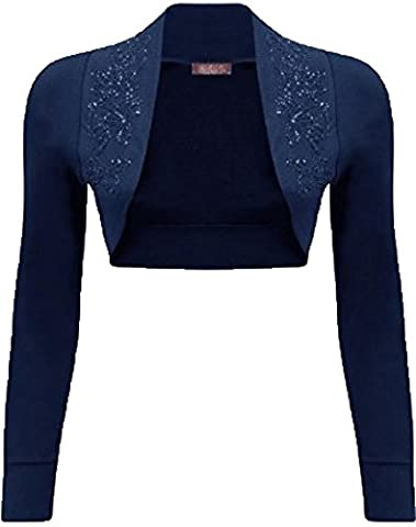 Mix lot New Ladies trendy fancy Long Sleeve beaded Shrug Bolero Top Different colors plus size casual/party wear size 8-22 (M/L 12-14,