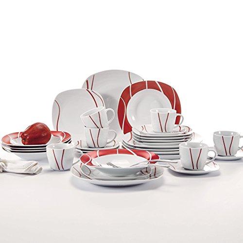 Malacasa, Serie Felisa, Tafelservice 30-teilig Kombiservice Weiss Porzellan Geschirrset im schönen Design Rund mit je 6 Kaffeetassen, 6 Untertassen, 6 Dessertteller, 6 Suppenteller und 6 Essteller Kaffeeservice für 6 Personen