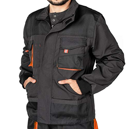 Mazalat Chaqueta de Trabajo para Hombre, Bolsillos Multiusos, Chaquetas Seguridad S - 3XL, Abrigo Hombre, Work Jacket for Professionals, Ropa de Trabajo Hombre Calidad. (L, Negro/Naranja)