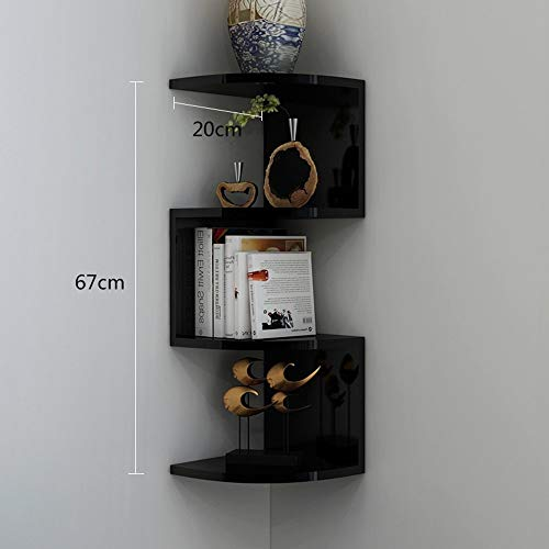 YANG Home Schlafzimmer Bücherregal Bücherregal Multifunktions Ecke Regal Dreieck Wandbehang 4 Schichten Lagerregal, Studentenschlafsaal Bett Bücherregal,67 * 20 cm,Schwarz - 4 Regal-ecke, Bücherregal, Bücherregal