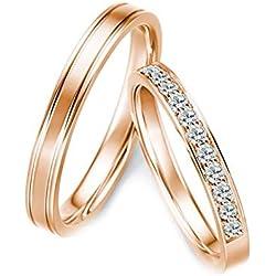 AmDxD 2Pcs Bague Mariage 18K Ligne Rangée Diamant Incrusté 0.28ct Alliance Couple Mariage Or Rose Bague de Diamant Femme Taille 55 & Homme Taille 61.5