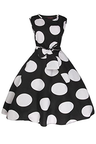 Femmes Années 1950 Rétro Vintage Pin Up Évasé Soirée Années 40 Robe En Grande Taille Noir