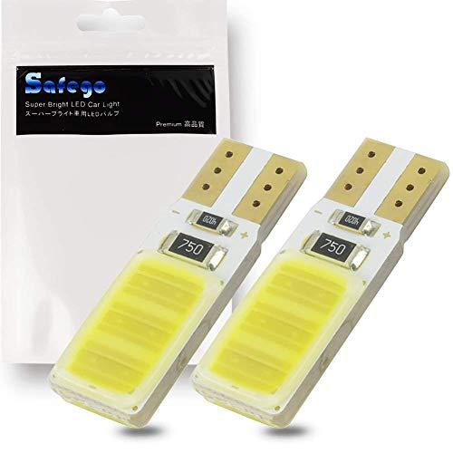 Safego 2x T10 W5W 194 168 2825 LED COB 12Chips Voiture Plaque D'immatriculation Dôme Ampoule Intérieure Liseuses Cargo Imperméable 6000K 12V