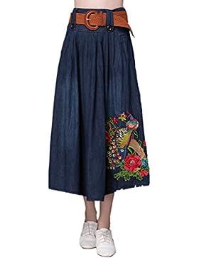 Anguang Mujer Talla Extra Floral Bordado Mezclilla Largo Falda con Cinturón Suelto Ajuste