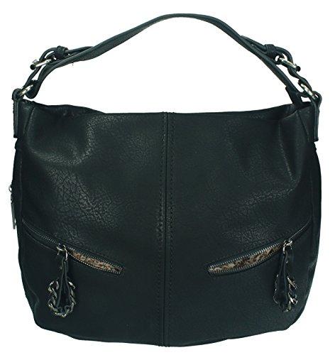 Betz. Borsa da donna borsa borsa per donna PARIS 4 borsa in similpelle con chiusura a zip e due cinghie Nero