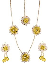 56c452d55 Alicia Glass Paper White Mogra Yellow Flower Jewellery Set for Women
