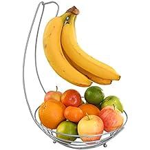 Evelots - Corbeille à fruit panier, saladier avec porte-banane, argent.