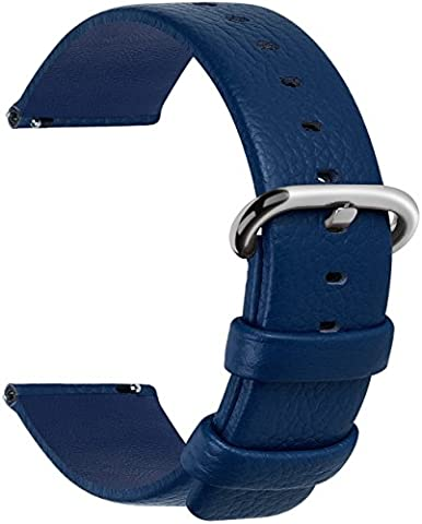 12 Colors for Quick Release Leather Watch Band, Fullmosa Uli Series Genuine Leather Replacement Watch Strap with Stainless Metal Clasp 22mm Dark