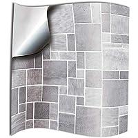 24x Gris Autocollants adhésifs du film 10 x 10 cm pour les tuiles couvrent la couche mince pour des tuiles de salle de bains ou de cuisine