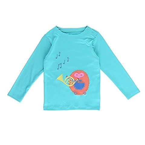 Piccalilly Bio-Baumwolle Türkis Mädchen Igel Applizierte Hemd