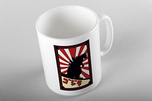 Bullshirt 's Japanische Monster Poster Print Tasse. White - Poster-japanisch Godzilla