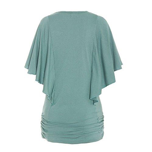 ReliBeauty Damen Boot Ausschnitt Shirring T-Shirts Kurzarm Falten Volant Dolman Schmetterling Ärmel Einfarbige Tunika Tops Türkisblau