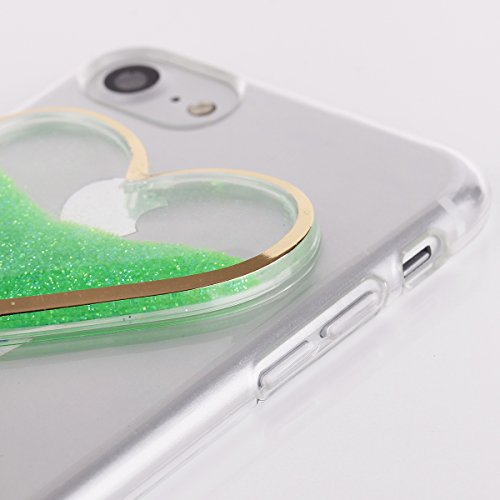 EGO® 3D Liquid Case pour iPhone Cover brillant liquide Bling Paillettes Glitter Cœur brocart Sablier für iPhone 5 5S SE or Grün + Glas