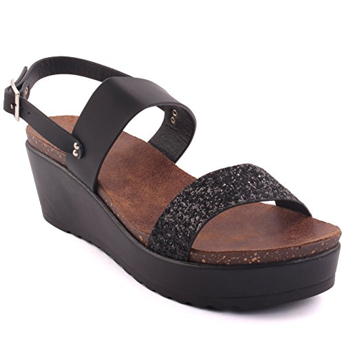 Unze New Women 'Kimmy' Glittered Strap Double Summer Beach Party Get Together Chaussures Sandales Wedge Wedge Club Carnival UK Taille 3-8 Noir