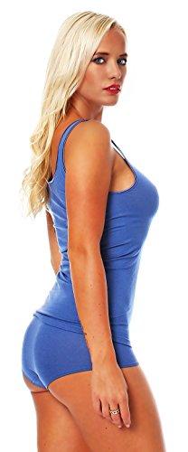 Damen Shirt ohne Arm, Achsel-Top Micromodal, Unterhemd von Schöller, Farbe Denim Blue / Jeansblau, Größen 38-50 Blau