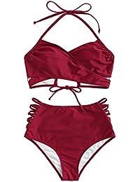 1402924ca7e SOLYHUX Maillots de Bain 2 Pièces Bikini à Bretelle Push-up Rembourré  Taille Haute Bikini