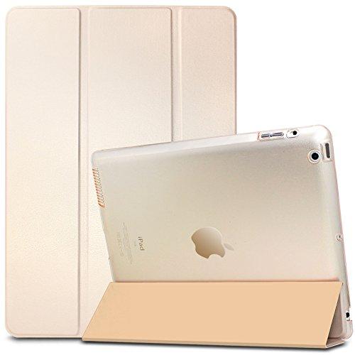 iPad 2 3 4 Hülle, Infiland Ultra Dünn Tri-Fold Smart-Muschel PU Leder Ultra Schlank Superleicht Ständer Smart Shell Cover Schutzhülle Etui Tasche für Apple iPad 2,iPad 3, iPad 4(mit Auto Schlaf / Wach Funktion)(Transparent Goldene)