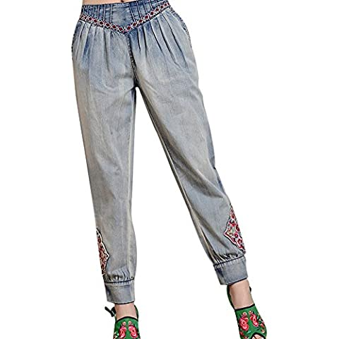 SaiDeng Donne Casual Distressed Lavato Ricamato Sciolto Denim