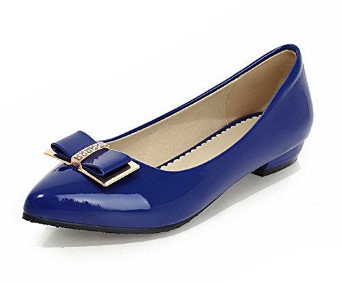 AllhqFashion Femme Tire Pu Cuir Pointu à Talon Bas Chaussures Légeres Bleu