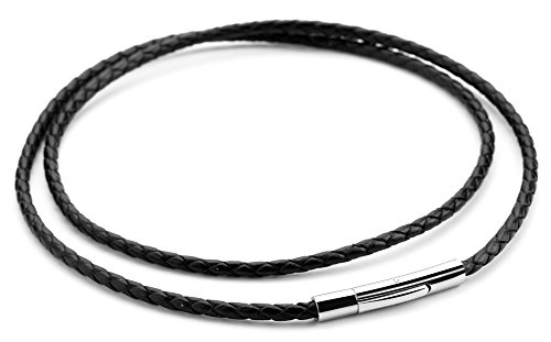 Doitory Men Women Leather Necklace 3mm Black Braided Rope Chain Stainless Steel Clasp, 14-30 inches