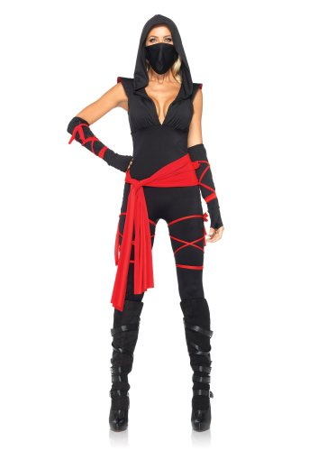 Avenue Kapuzen Kostüme Leg (Leg Avenue 85087 - 5TL. Tödliches Ninja Kostüm, Größe M, schwarz, Damen Karneval)