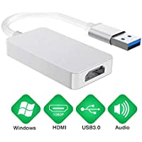 REUUY Adaptador USB 3.0 a HDMI, USB 3.0/2.0 a HDMI 1080P Full HD (Macho a Hembra) Convertidor multimonitor de Audio y vídeo Blanco