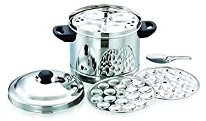 PREMIUM Stainless Steel 6 - Plates Idly Cooker (Free-Ladle,2- Mini Idly Plates)