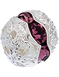 Hexawata Silver Color Spacer Balls Beads With Rhinestone Pack Of 20pcs Purple