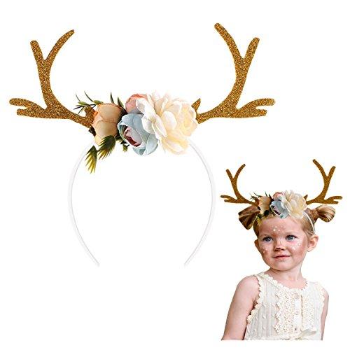 hgeweih Rentier Haarreif Gold, Weihnachtsdeko Geweih Stirnband für Kinder, Frauen, Familie, Party (2017 neues Design) (Neue Lustige Halloween-kostüme 2017)