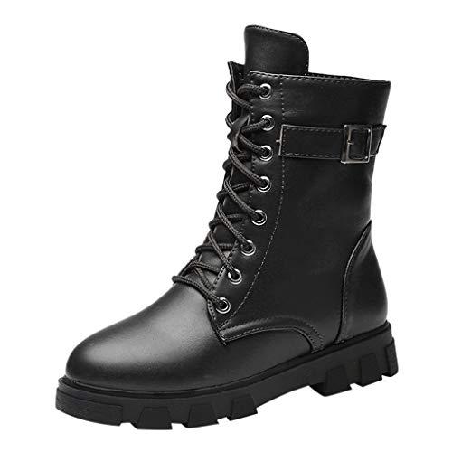 Anglewolf Damen Winter Bootsschuhe Boots Stiefel Lederschuhe GroßEr Kopf Afarbig Herrenschuhe Schnee Damenstiefel Starke Ferse Vintage Herrenstiefel