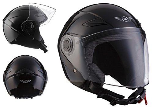 MOTO U52 Gloss Black · Motorrad-Helm Retro Roller-Helm Chopper Cruiser Vespa-Helm Helmet...