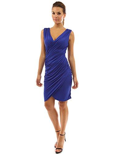 PattyBoutik Damen alltags Stretch ärmelloses gerafftes Wickelkleid mit V-Ausschnitt Blau
