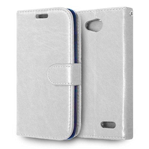 casefirst LG L90 Wallet Case, LG L90 Leather Case, Premium PU Leather Anti-Scratch Folio Stand Bumper Back Cover for LG L90 - White (Lg L90 Case Folio)