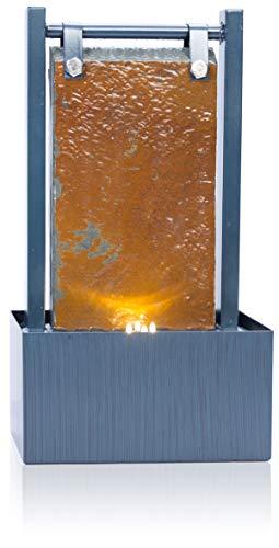Ambienté Tischbrunnen Bernoulli aus Schiefer mit Zinkrahmen und LED-Beleuchtung, 36cm