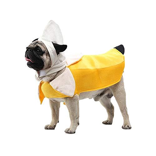 Amakunft Banana Hundekostüm, lustiges Haustier Kostüm Kleidung Banane Cosplay für Halloween Weihnachten Party Kleidung für Katzen Welpen Hunde