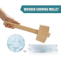 Mazo de hielo de madera de haya maciza natural hecho a mano, martillo de triturador manual de hielo, 13.4 pulgadas