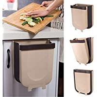 99AMZ Hanging Trash Can Wall Mounted Folding Waste Bin Kitchen Cabinet Durable Practical Door Hanging Trash Bin Suitable for Kitchens, Dorms, Living rooms, Bedroom (Coffee)