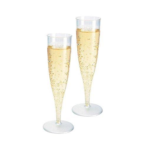 Girm® - S9006 - Lot de 40 flûtes en plastique transparent jetables, montage facile, flûtes pour fêtes, gobelets en plastique jetables, verres à champagne en plastique, verres de plastique pour mousseux, flûtes rigides de plastique