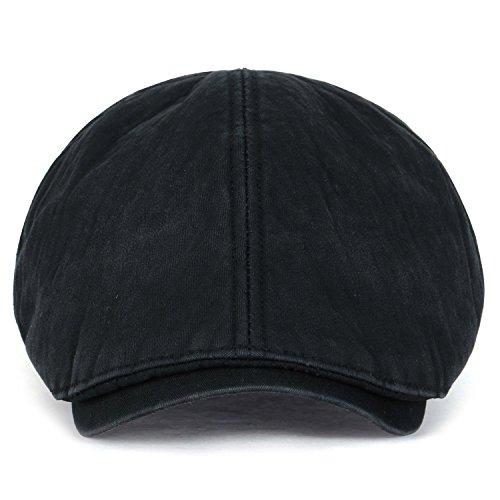 ililily Cotton washing Flat Cap Cabbie Hut Gatsby Ivy Irish Hunting Newsboy (XL, XL-Black) (Herren Sommer Newsboy Caps)