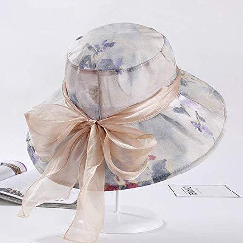 WENYAO Damen Sonnenhut, breitkrempiger Hut faltbar, Damen Sommer Eimer Hut, Panama Straw Beach Hüte, Sonnenhüte mit Schleife (Farbe: E) Snap Brim Hut