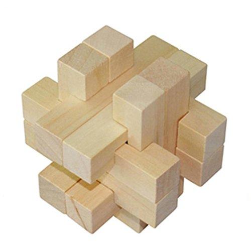 Xshuai 6 STÜCKE 3D IQ Spiel Spaß Puzzle Holz Intelligenz Denkaufgabe Spielzeug Für Gastgeschenke Weihnachtsgeschenk (Einer Kostüm In Box Kopf)