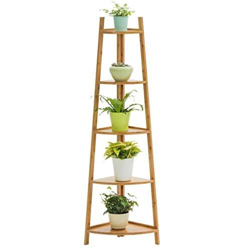 CHENGXINGF Blumenständer Bodenstehender Pflanzenständer aus Bambus und Holz Mehrschichtiger kreativer Topfständer für Innen Einfache Ecke Steh-Topfständer Größe 147 cm * 50 cm (Color : Brown)