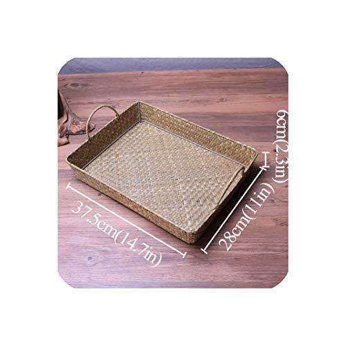 Noon-Sunshine Weave a basket Strohflechterei Ablagekorb Schreibtisch Sundries Sammelkorb Portable Tabletts für die Lagerung Obstbesteck Teetabletts Hauptdekoration, L025 - Open-style Schreibtisch