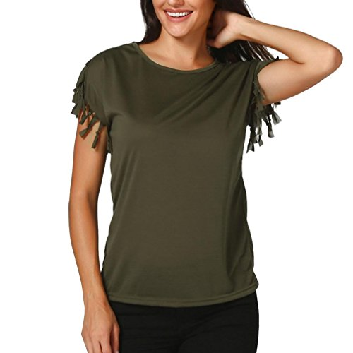 dd96a71e75ea83 OVERDOSE Frauen Quaste Solid Casual Kurzarm Tops Sommer Damen Lose Bluse T-Shirt  Tees Oberteile