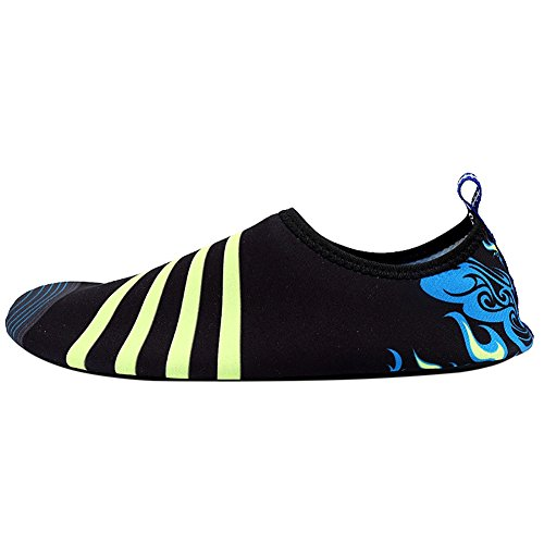 ROMANTIC BEAR Women Men Quick Dry Aqua Shoes Sports Water Socks with Holey Ventilation Pool A22:Blue Fire